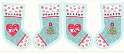 Lewis & Irene - Hygge Christmas - 5989 - Stocking Panel in Aqua - C31.1 - Cotton Fabric